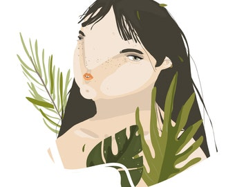 """Illustration """"GIRL with TROPICAL LEAVES"""""""