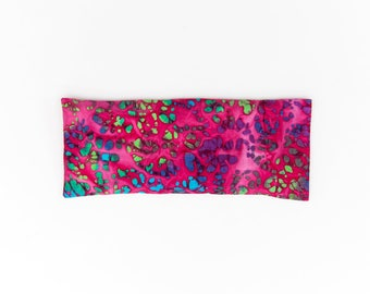 Pink Batik Yoga Eye Pillow, Filled with Organic Flaxseed and Lavender, Aromatherapy, Natural Headache Relief