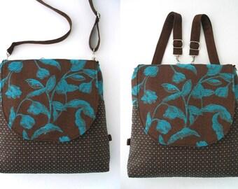 backpack purse converts to messenger, blue and brown tote bag, crossbody bag, shoulder handbag, everyday bag