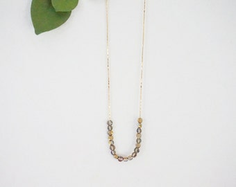 Women Gift Christmas Gift Gold Necklace Grey Necklace Crystal Necklace Beaded Necklace Simple Necklace Bridesmaid Gift Bridesmaid Jewelry