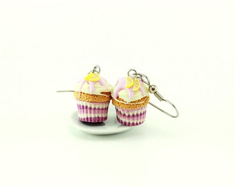Lemon-Lavender Cupcake Earrings
