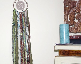Dreamcatcher Earth and Forest Colors Upcycled Fabric, Handmade Beads Festival and Boho Style Wall Hanging or Patio Flag