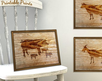 Faux Wood Wall Decor - Pig Print - Rustic Baby Nursery Decor - Pig Decor Printable Rustic Wood Print - Farm Animal Print Instant Download