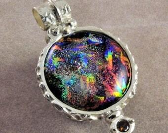 Elegant dichroic glass and fine silver pendant