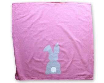 Easter Bunny Flour Sack Dish Towel - Pink or Mint Design