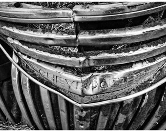 Crumpled 1930s Chevy Pickup Grille Closeup Photo - Black & White Old Car Art - Rusting Car Photo - Liberty Images Classic Car Photography