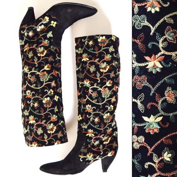 Vintage 80s 90s NANDO MUZI Black Suede and Velvet Metallic Floral Embroidered Boots (size 9)