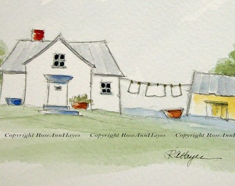 Laundry Room Art Laundry Room Original Watercolor Painting Country Cottage Clothesline Wash Day Gift