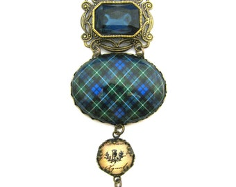 Scottish Tartan Jewelry - Ancient Romance - Tartans Special Occasion Collection - Graham Ornate Filigree Necklace w/Montana Blue Glass Gem
