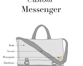 Custom Messenger Mini, Canvas and Leather Messenger, 15 inch laptop messenger bag, crossbody bag, work bag, Jenny N Design, Made to Order