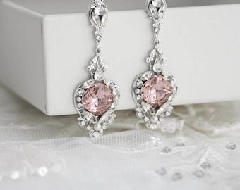 Blush Pink Wedding Earrings Crystal Bridal Earrings Vintage Rose Wedding Jewelry Crystal Dangle Earrings ESTELLA CRYSTAL EARRINGS