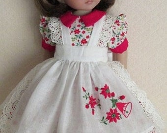 """For Effner Little Darling """"Pretty Poinsettias"""" Dress, Pinafore and Slip"""