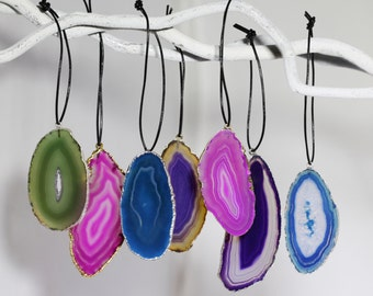 Jeweltone Agate Slice Ornaments One of a Kind Ornaments Geode Stone Ornaments Unique Gifts Geode-ORN-101-Jeweltones