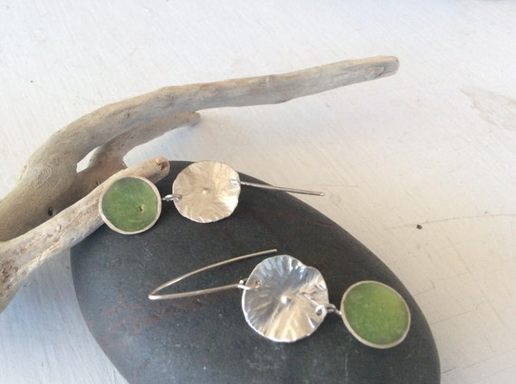 Sterling Silver and Green Lily Pad Earrings