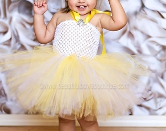 Yellow Tutu Dress,Baby Tutu Dress,Birthday Tutu Dress,Chiffon Tutu,Flower Girl Dress,Little Girl Tutu,Tutu Photo Prop,Infant Girl Tutu Dress