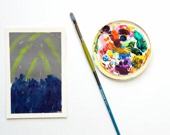 "Modern Abstract Shooting Star Night Sky Painting on Paper Wall Art, Blue & Gray Bedroom Wall Art, Metallic Gold Stars, Landscape Art 5""x7"""