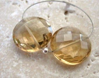 Champagne Citrine Quartz Faceted Coin Beads Matched Pair 13mm