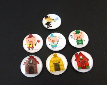 "7 Three Little Pigs Buttons. Handmade By Me.  Children's  Fairy Tale or Story Book Sewing Buttons.  3/4"" or 20 mm. Washer and Dryer Safe."