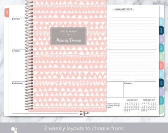 personalized planner 2017 & 2018 calendar | add monthly tabs custom weekly student planner | planner agenda | pink grey tribal pattern