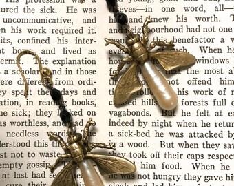 Firefly Earrings, Insect Jewelry,  Rosary Earrings, Bohemian Style, Steampunk Jewelry,  Bug Earrings, Made in USA