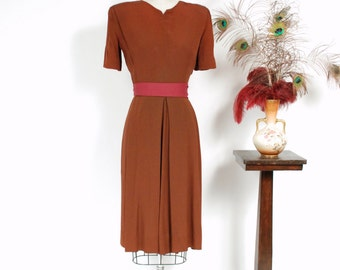 Vintage 1940s Dress - Rich Rust Brown Rayon Crepe 40s Cocktail Dress with Bold Strong Shoulders and Deep Box Pleated Skirt