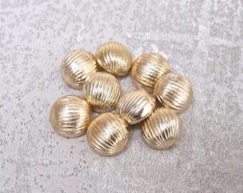 Small Gold Buttons, 11mm 3/8 inch - Rounded Ribbed Gold Tone Shank Buttons - 9 VTG NOS Modern Dome Shaped Pale Gold Metal Buttons  MT109