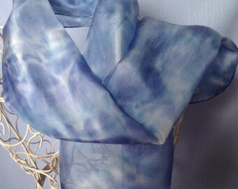 Navy Blue Silk Scarf, silk scarf, blue silk scarf, long silk scarf, handpainted scarf, hand painted silk, long blue scarf, scarf uk, - S466