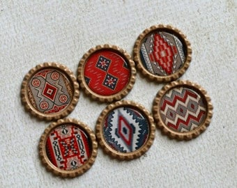 Native American Rug Patterns- Southwest Bottlecap Magnets- Rustic and Southwest Decor- Kitchen Magnets- Unisex Gift- Kitchen Magnets