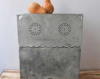 rustic metal breadbox kitchen storage magnetic board pierced tin box