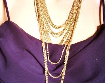 Gold Tone Multi Strand Chain Necklace