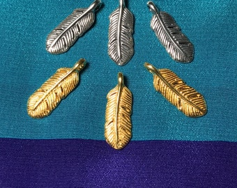 Shop Sale - 2 pcs, Sterling Silver or 24k Gold Vermeil FEATHER Leaf Charm Pendant, 16.5x6 mm, artisan nature organic wholesale woodland f16
