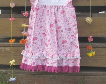Dress or Top, Pink, Tropical, Girls size 4 to 7 (slender)
