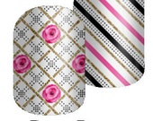 Deco Roses in Black or White - Custom Jamberry Nail Wraps - Pink Roses 2016 Collection