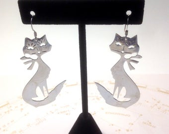 vintage CATS Sterling SILVER dangly mod funky cat EARRINGS // 60's Dangly Kitty Cats / Marked 925 / Mid Century Mod Pussy Cats