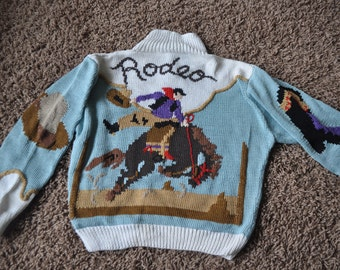 Vintage Hand Knit Sweater Berek Rodeo Wester Style Made in Uruguay