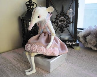 """Miniature posable dolls animals Rat figurine 7""""GIRL Baby Rat Creature mouse sculpture rag doll creepy stuffed animals dressed toy for blythe"""