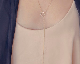 Layered Lariat | Double Strand Lariat Necklace | CZ Lariat Necklace | Layered And Long Lariat | CZ Y Necklace | Gold Lariat | Gift For Her