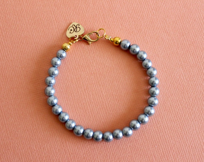 Blue/Grey Beaded Faux Pearl Bracelet.