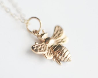 Bee Necklace - Gold Girlfriend Necklace - Small Gold Bee Charm - Gold Bumblebee - Birthday Gift for Best Friend - Golden Bee Necklace
