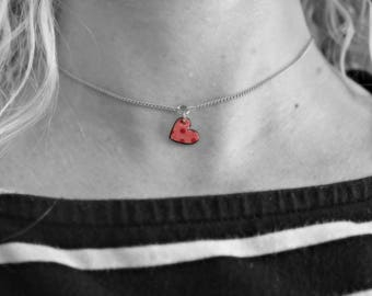 Minimalist choker, necklace, Little heart, Polka dot, La Méchante Sorcière, love, retro, vintage style, bohemian, gypsy, gift for her