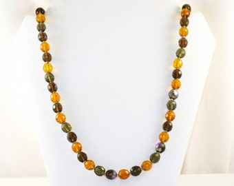 Vintage Joan Rivers Long Glass Amber and Smokey Crystal Necklace (N-2-1)