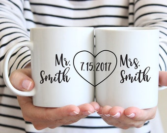 Personalized Wedding Gift for Couple Wedding Shower Gift Wedding Gift for Bride Couples Mug Set Couples Gift Anniversary Gifts for Men Date