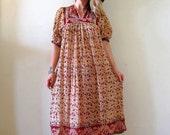 vintage 70s 1970s Indian gauze dress semi sheer cotton hippie boho festival midi earth tones cream natural