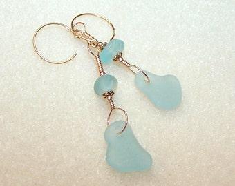 Light Blue Sea Glass Earrings Gold Dangle Beach Glass Unique Jewelry Pastel Blue Drop Earings for Pierced Ears Aqua Blue 2 Inch Dangles