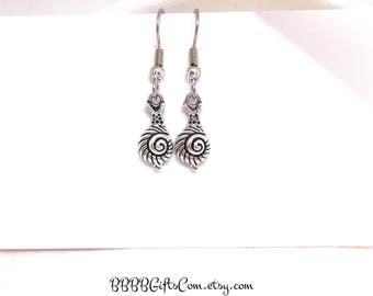 Silver Snail Slug Earrings