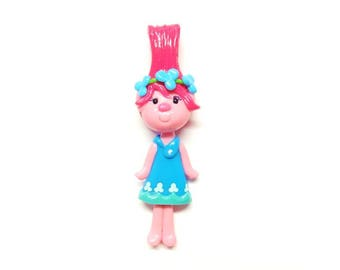 Pink Troll Girl Figurine, Ornament, Pendant Charm, Purse Charm, Cold Porcelain Clay Bow Center, Brooch, Magnet, Gift /DIY Necklace, Jewelry