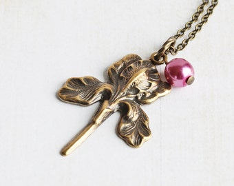 Antiqued Brass Plated Iris Flower Necklace on Simple Chain (Choose Pearl Color or No Pearl)