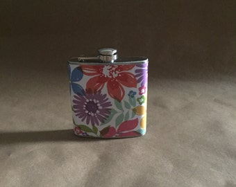 Girls' Trip Gift Multicolored Watercolor Floral Print 6 ounce Stainless Steel Girl Gift Flask