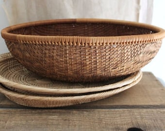 Vintage Oval Bamboo Basket Bowl, Small Bamboo Basket