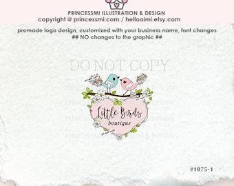 1075-1 little bird logo, doodle big heart logo business logo photography logo illustration , elegant birds logo